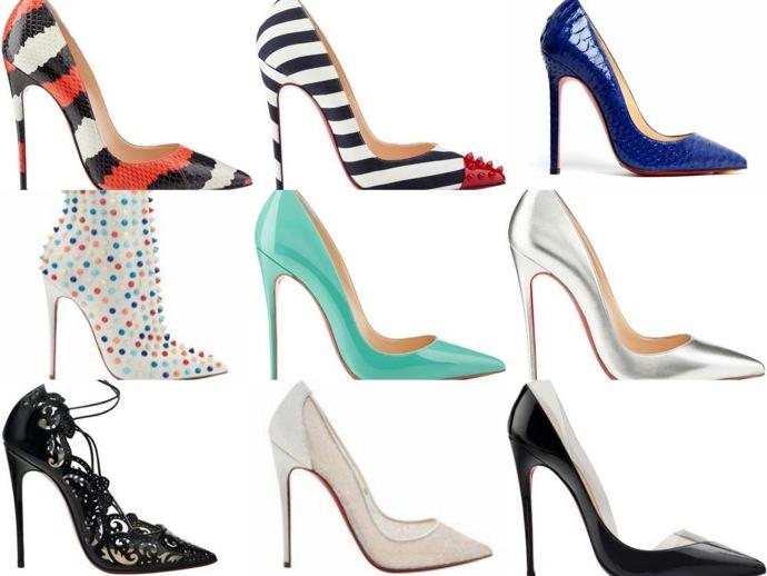 scarpe Louboutin di diversi colori e fantasie